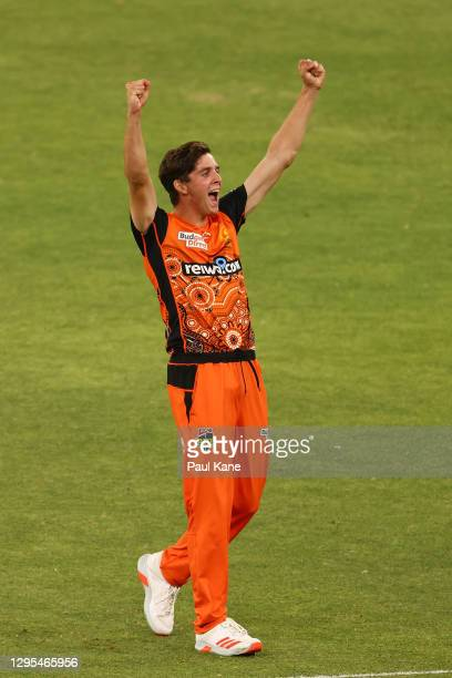 JhyeRichardsonof the Scorchers celebrates the wicket of Adam Milne of the Thunder during the Big Bash League match between the Perth Scorchers and...