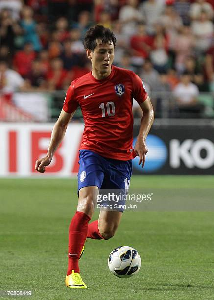 Ji DongWon of South Korea in action during the FIFA 2014 World Cup Qualifier match between South Korea and Iran at Munsu Cup Stadium on June 18 2013...