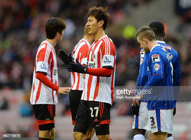 Ji DongWon of Sunderland Gestures during the FA Cup Third Round match between Sunderland and Carlisle United at the Stadium of Light on January 5...