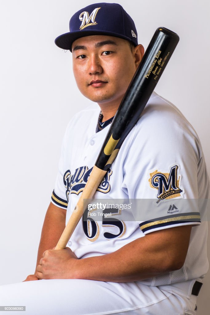 Ji Man Choi of the Milwaukee Brewers poses for a portrait during Photo Day at the Milwaukee Brewers Spring Training Complex on February 22, 2018 in Maryvale, Arizona.