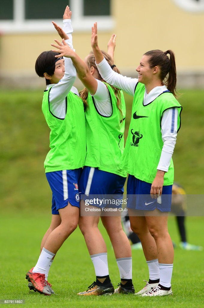 Ji So Yun, Erin Cuthbert and Ramona Bachmann of Chelsea during a training session on August 23, 2017 in Schladming, Austria.