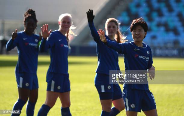 Ji So Yun Maren Mjelde Maria Thorrisdottir and Anita Asante of Chelsea wave to the fans after a WSL match between Chelsea Ladies and Manchester City...