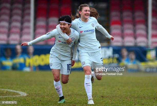 Ji So Yun of Chelsea celebrates with team mate Hannah Blundell after she scores to make it 20 during the WS1 match between Birmingham City Ladies and...