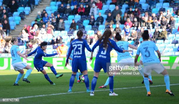 Ji So Yun of Chelsea scores to make it 20 during a WSL match between Chelsea Ladies and Manchester City Women at the Academy Stadium on February 24...
