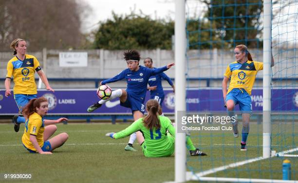 Ji So Yun of Chelsea scores to put her side 10 up during a FA Women's Cup 5th Round match between Chelsea and Doncaster Rovers Belles at The Cherry...