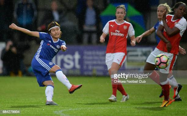 Ji So Yun of Chelsea takes a shot on goal during a WSL 1 match between Chelsea Ladies FC and Arsenal Ladies FC on May 17 2017 in Staines England
