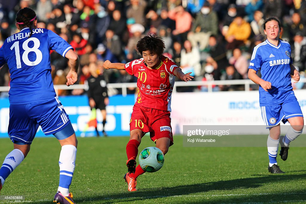 Ji So yun #10 of INAC Kobe Leonessa scores the third goal during the International Women's Club Championship final match between Chelsea Ladies and INAC Kobe Leonessa at Ajinomoto Field Nishigaoka on December 8, 2013 in Tokyo, Japan.