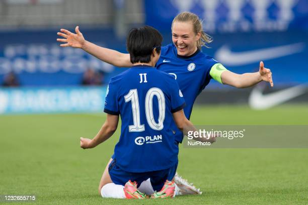 Ji So-Yun celebrates after scoring during the 2020-21 UEFA Womens Champions League fixture between Chelsea FC and Bayern Munich at Kingsmeadow.