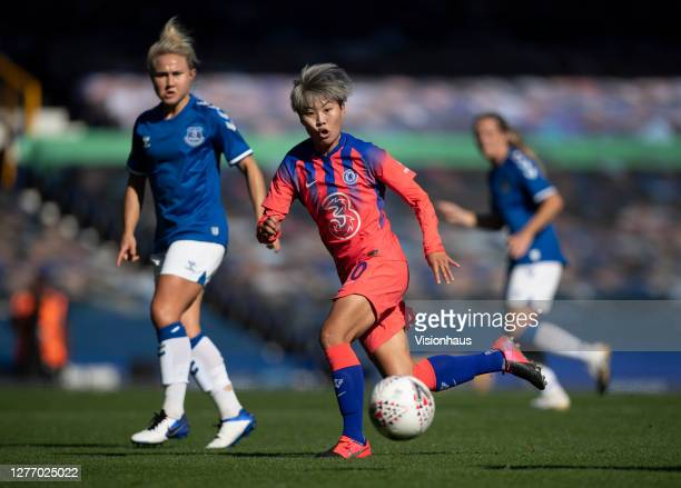 Ji SoYun of Chelsea and Izzy Christiansen of Everton in action during the Womens FA Cup Quarter Final match between Everton FC and Chelsea FC at...