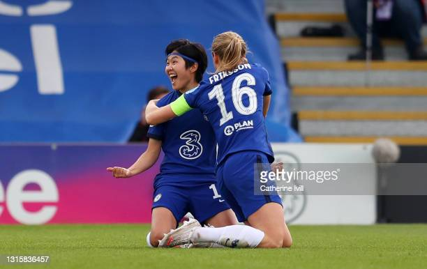 Ji So-Yun of Chelsea celebrates with Magdalena Eriksson after scoring their team's second goal during the Second Leg of the UEFA Women's Champions...