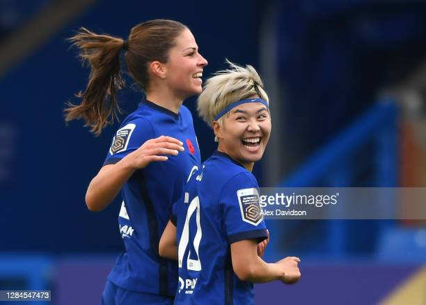 Ji So-Yun of Chelsea celebrates with team mate Melanie Leupolz after scoring her sides first goal during the Barclays FA Women's Super League match...