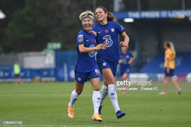 Ji So-Yun of Chelsea celebrates with teammate Melanie Leupolz after scoring her team's first goal during the Barclays FA Women's Super League match...