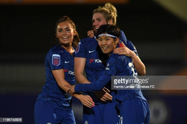 Ji SoYun of Chelsea celebrates with teammates after scoring her team's second goal during the FA Women's Continental League Cup Quarter Final match...