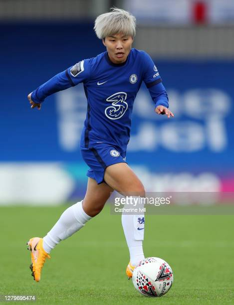 Ji SoYun of Chelsea during the Barclays FA Women's Super League match between Chelsea Women and Manchester City Women at Kingsmeadow on October 11...