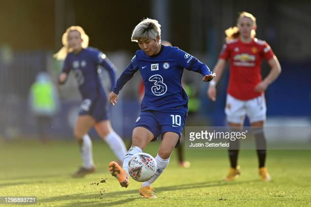 Ji So-yun of Chelsea during the Barclays FA Women's Super League match between Chelsea Women and Manchester United Women at Kingsmeadow on January...
