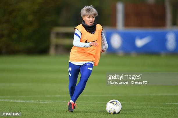 Ji SoYun of Chelsea in action during a Chelsea FC Women's Training Session at Chelsea Training Ground on October 14 2020 in Cobham England