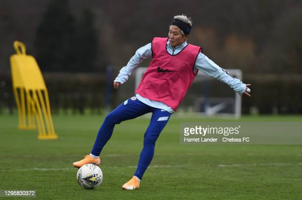 Ji So-Yun of Chelsea in action during a Chelsea FC Women's Training Session at Chelsea Training Ground on January 11, 2021 in Cobham, England.