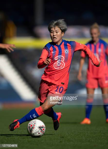 Ji SoYun of Chelsea in action during the Womens FA Cup Quarter Final match between Everton FC and Chelsea FC at Goodison Park on September 27 2020 in...