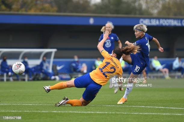 Ji So-Yun of Chelsea scores her team's first goal during the Barclays FA Women's Super League match between Chelsea Women and Everton Women at...