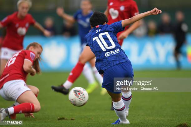 Ji So-Yun of Chelsea scores her team's third goal during the Barclays FA Women's Super League match between Bristol City and Chelsea at Stoke Gifford...