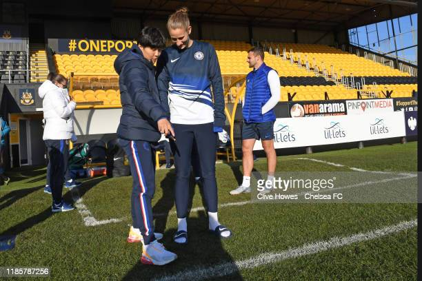 Ji So-Yun points to the pitch before the Barclays FA Women's Super League match is called off between Everton and Chelsea at Haig Avenue on December...
