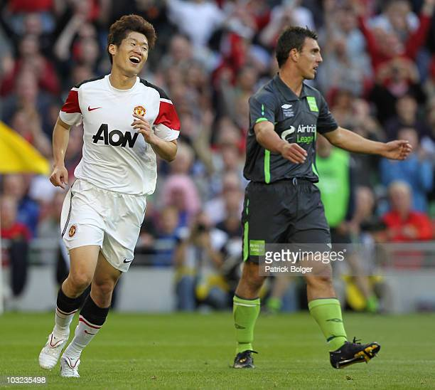 Ji Sung Park of Manchester United celebrates scoring the first goal during the Airtricity XI v Manchester United XI Friendly Match at the Aviva...