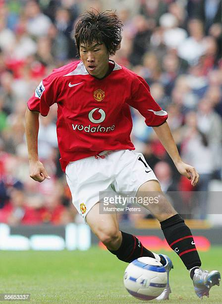 Ji Sung Park of Manchester United during the Barclays Premiership match between Manchester United and Manchester City at Old Trafford on September 10...