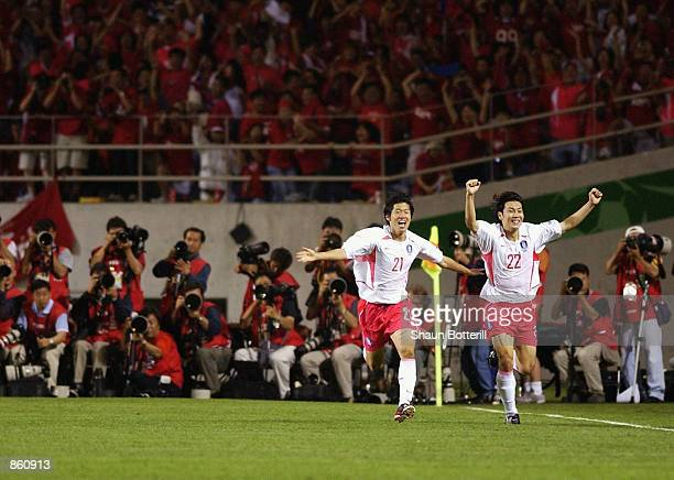 Ji Sung Park of South Korea celebrates scoring the winning goal during the FIFA World Cup Finals 2002 Group D match between Portugal and South Korea...