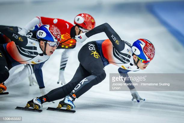 Ji Won Park of Korea competes in the Men's 1500m final during day 1 of the ISU World Cup Short Track at Sportboulevard on February 15, 2020 in...