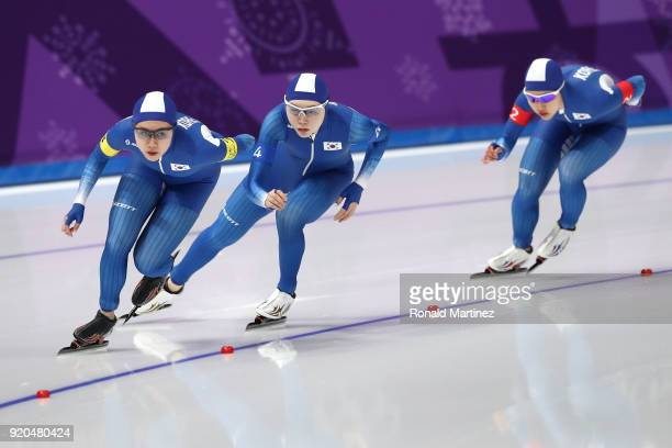 Ji Woo Park SeonYeong Noh and BoReum Kim of Korea compete during the Ladies' Team Pursuit Speed Skating Quarterfinals on day 10 of the PyeongChang...