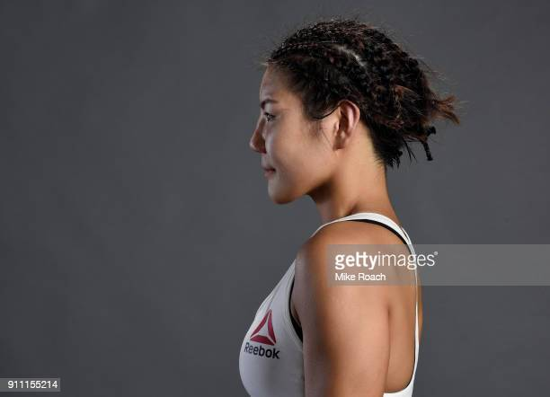 Ji Yeon Kim of South Korea poses for a post fight portraits backstage during a UFC Fight Night event at Spectrum Center on January 27 2018 in...