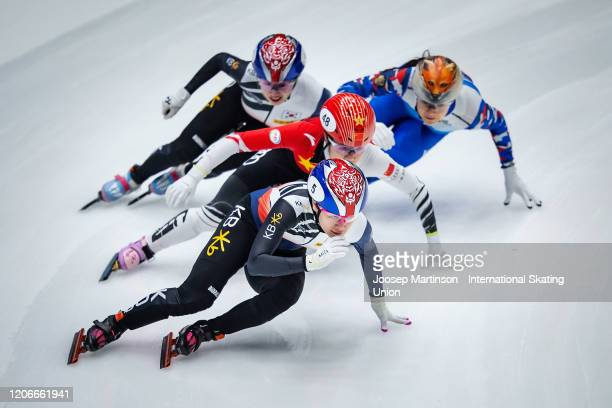Ji Yoo Kim of Korea leads the pack in the Ladies 1000m final during day 2 of the ISU World Cup Short Track at Sportboulevard on February 16, 2020 in...