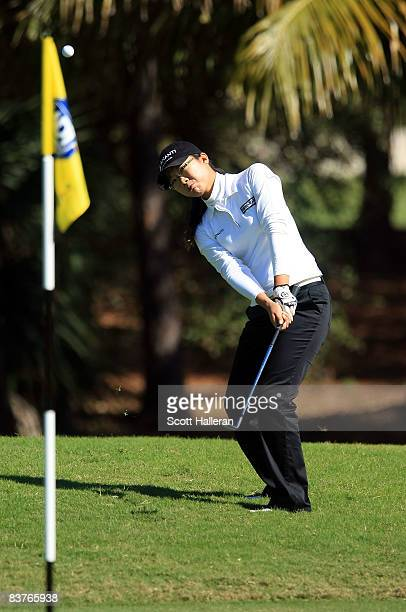Ji Young Oh of South Korea hits a pitch shot on the eighth hole during the first round of the ADT Championship at the Trump International Golf Club...
