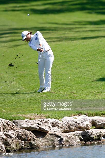 Ji Young Oh of South Korea hits an approach shot on the 17th hole during the third round of the SemGroup Championship presented by John Q Hammons on...