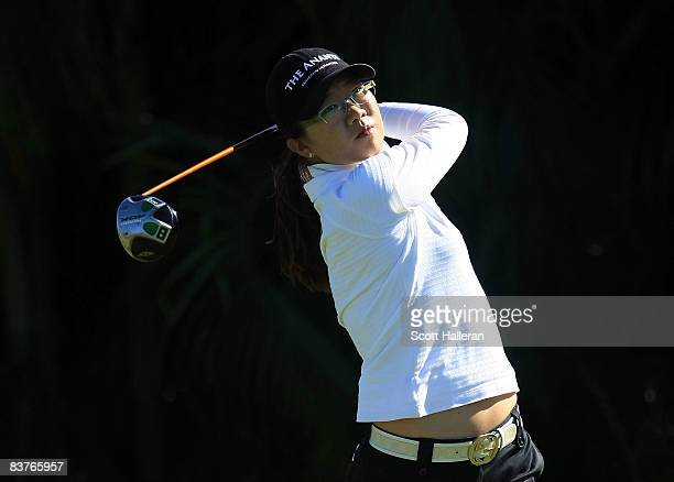 Ji Young Oh of South Korea hits her tee shot on the ninth hole during the first round of the ADT Championship at the Trump International Golf Club on...