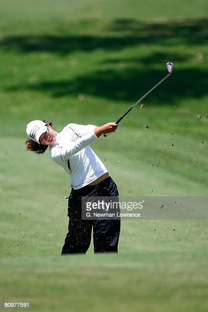 Ji Young Oh of South Korea plays onto the green on the 9th hole during the third round of the SemGroup Championship presented by John Q Hammons on...