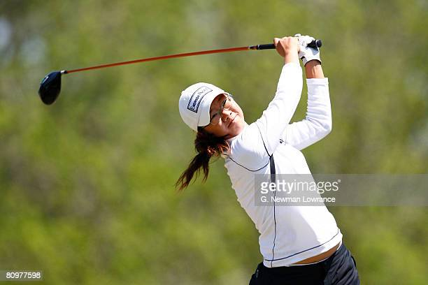 Ji Young Oh of South Korea watches a tee shot on the 12th hole during the third round of the SemGroup Championship presented by John Q Hammons on May...