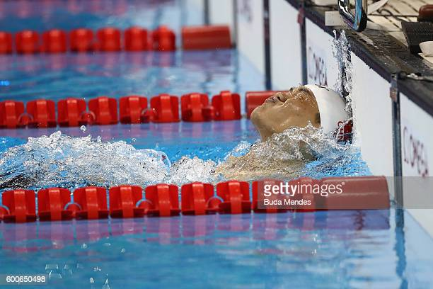 Jia Hongguang of China finishes to win the gold medal in the Men's 100m Backstroke S6 on day 1 of the Rio 2016 Paralympic Games at the Olympic...