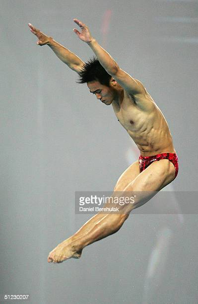 Jia Hu of China competes in the men's diving 10 metre platform semifinal on August 28 2004 during the Athens 2004 Summer Olympic Games at the Aquatic...