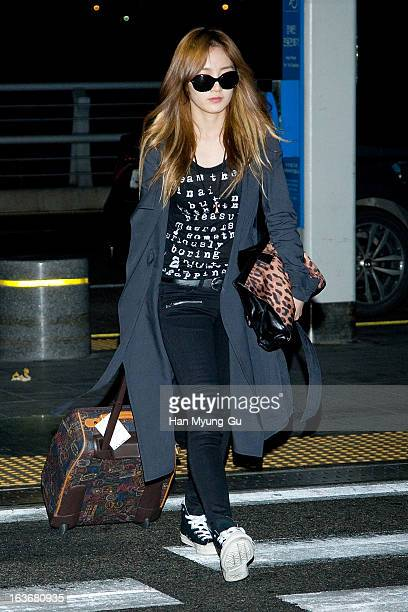 Jia of girl group Miss A is seen on departure to Thailand at Incheon International Airport on March 14 2013 in Incheon South Korea