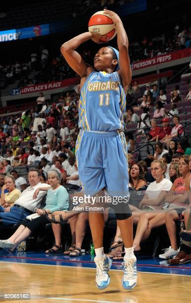 Jia Perkins of the Chicago Sky takes a jump shot against the Detroit Shock during the WNBA game on July 16 2008 at The Palace of Auburn Hills in...