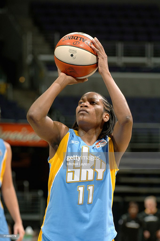 Jia Perkins #11 of the Chicago Sky takes the freethrow shot against the Washington Mystics on July 27, 2006 at MCI Center in Washington, D.C. The Mystics won 92-74.