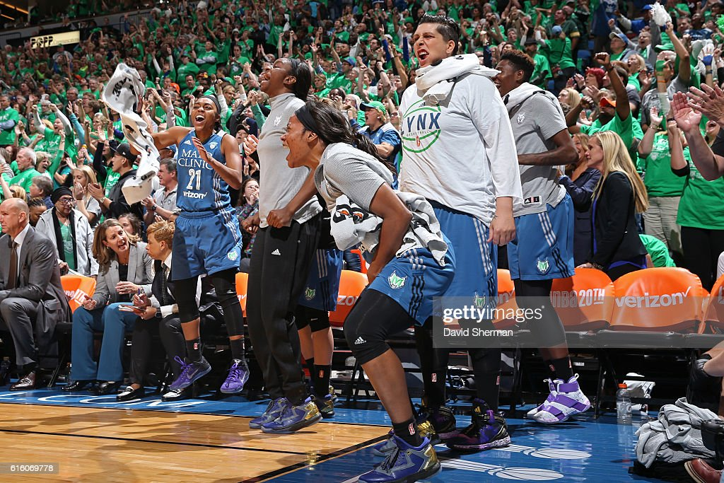Jia Perkins #7 of the Minnesota Lynx celebrates from the bench against the Los Angeles Sparks during Game Five of the 2016 WNBA Finals on October 20, 2016 at Target Center in Minneapolis, Minnesota.