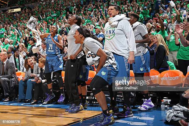 Jia Perkins of the Minnesota Lynx celebrates from the bench against the Los Angeles Sparks during Game Five of the 2016 WNBA Finals on October 20...