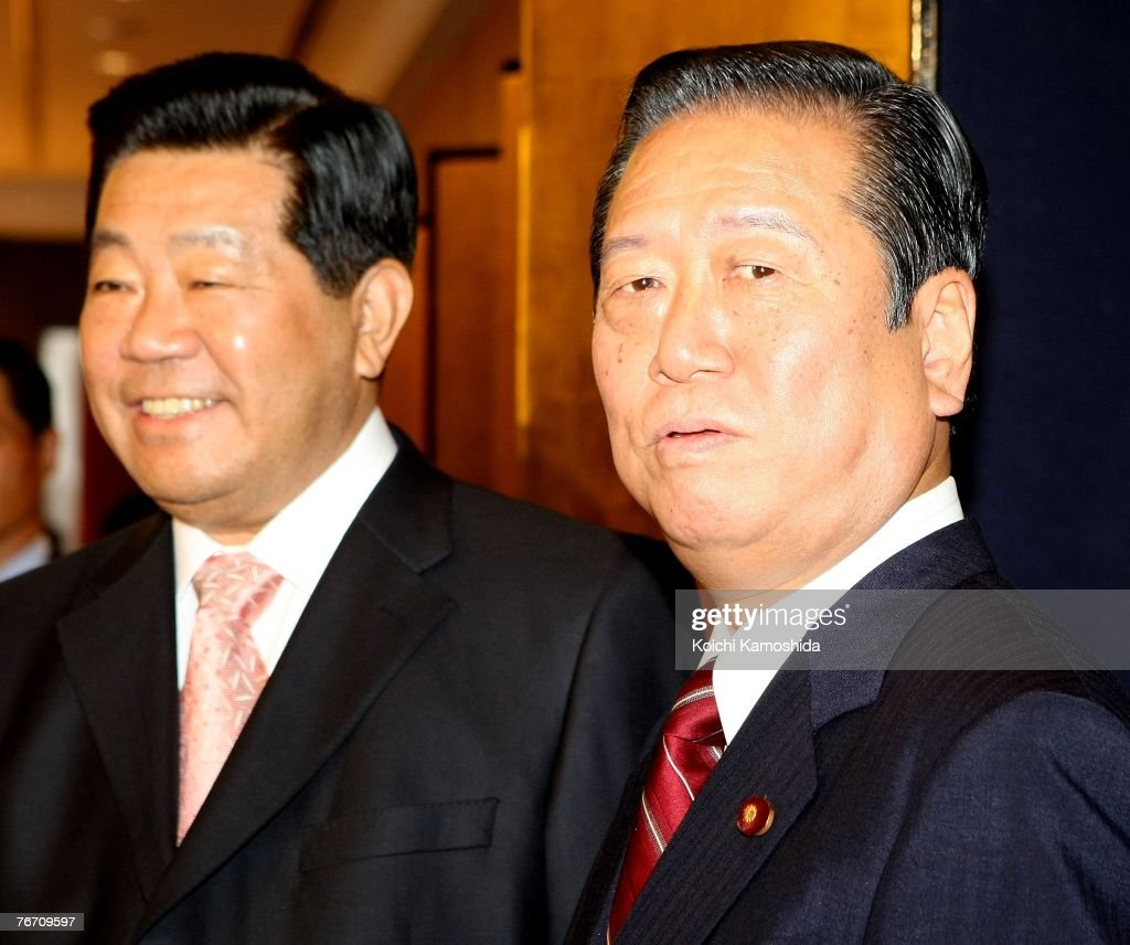 Jia Qinglin (L), chairman of the Chinese People's Political Consultative Conference (CPPCC), meets with Ichiro Ozawa, leader of Democratic Party of Japan at a Tokyo hotel, September 13, 2007 in Tokyo, Japan. Jia visit to Japan at the invitation of the Government of Japan from September 12 to 18.