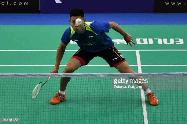 Jia Wei Joel Koh of Singapore competes against Lu Guangzu of China during the EPlus Badminton Asia Team Championships 2018 at Sultan Abdul Halim...