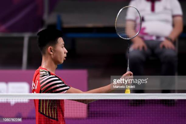 Jia Wei Joel Koh of Singapore greets the audience after winning the men's singles match against Rukesh Maharjan of Nepal on day 1 of the Buenos Aires...