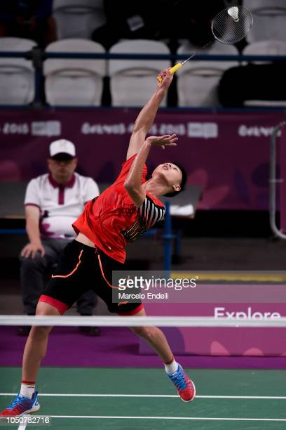 Jia Wei Joel Koh of Singapore hits a return during the men's singles match against Rukesh Maharjan of Nepal on day 1 of the Buenos Aires Youth...