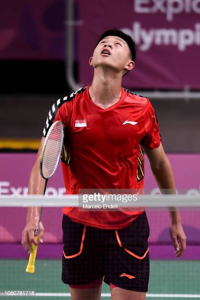 Jia Wei Joel Koh of Singapore reacts during the men's singles match against Rukesh Maharjan of Nepal on day 1 of the Buenos Aires Youth Olympics at...
