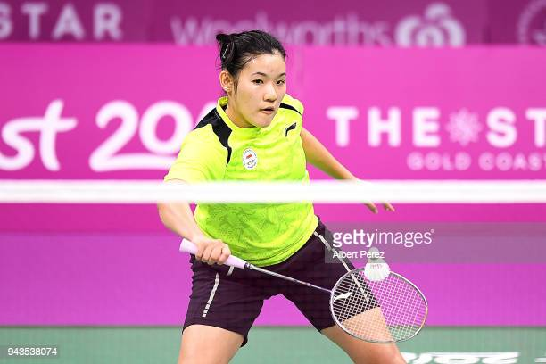 Jia Ying Crystal Wong of Singapore competes against Marcus Ellis and Lauren Smith of England in the Badminton Mixed Team bronze medal match on day...